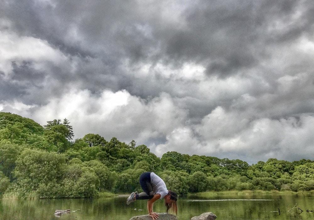 Yogi girl at lake district