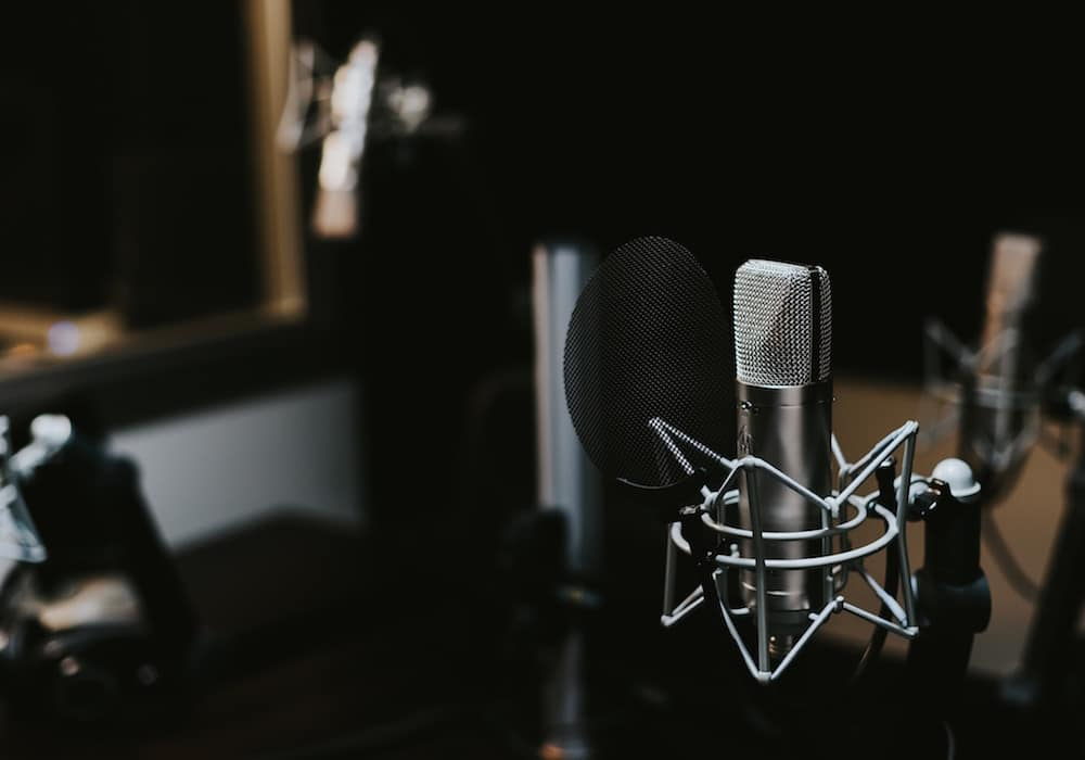 microphone in a dark background