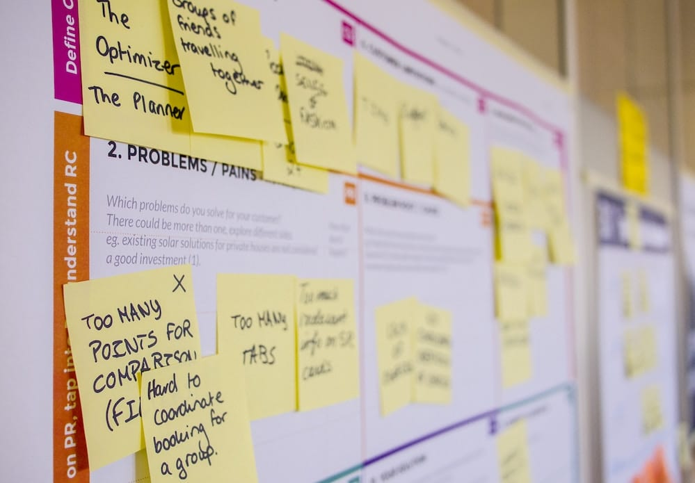 innovation implementation board with post it notes